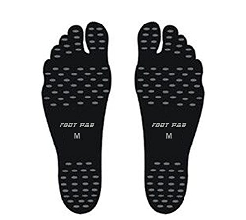 4 Pairs Barefoot Shoes Fashion Foot Stickers Soles Insulated Insoles Invisible Shoes Stick on Feet by Feihoudei (L, Black)