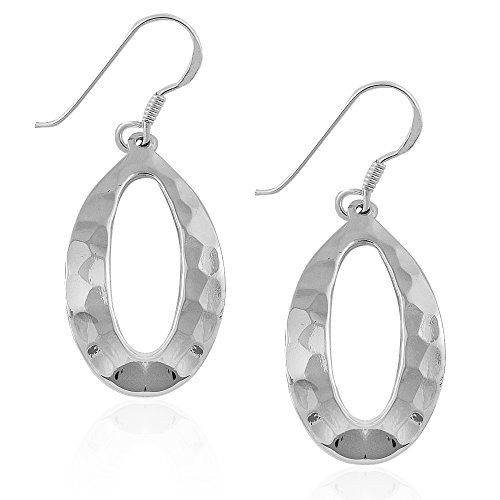 MIMI 925 Sterling Silver Hammered Open Oval Drop Dangle Earrings (Earrings Silver Oval Hammered)