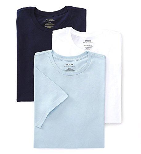 Polo Ralph Lauren Classic Crew Neck T-Shirt 3-Pack, L, Blue/White (Polo Ral)