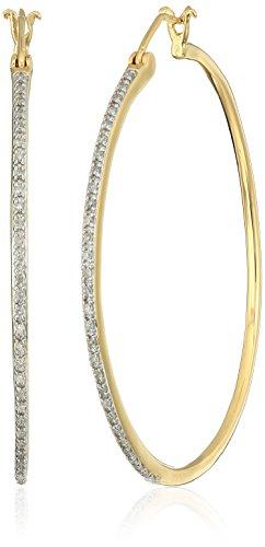 18k Gold Diamond Hoop (18k Yellow Gold over Sterling Silver Diamond Hoop Earrings (1/4 cttw))
