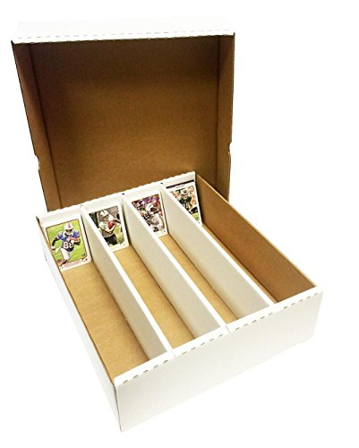 (4) 3200 Count Corrugated Cardboard Storage Boxes by Max Pro for Baseball, Football, Basketball, Hockey, Nascar, Sportscards, Gaming & Trading Cards Collecting Supplies FULL LID ()