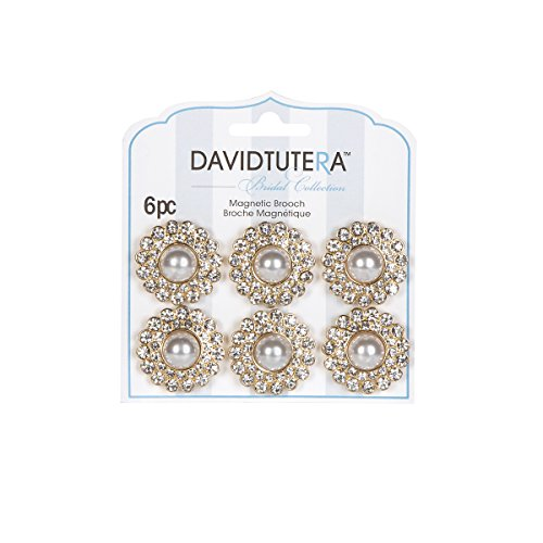 Darice David Tutera Illusion Gold and Rhinestone Pearl Magnet Brooches ()