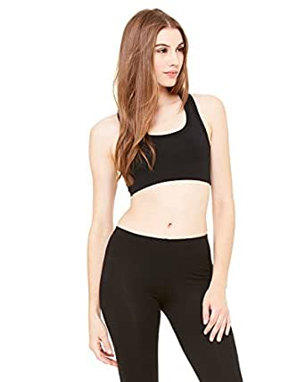 Bella Womens Nylon/Spandex racerback sport bra - Small - BLACK