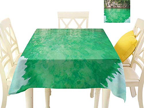 Washable Table Cloth Lagoon KOH Hong Krabi Thailand Cliff Reflection on Sea Tropical Seascape W50 x L50, Great for Buffet Table