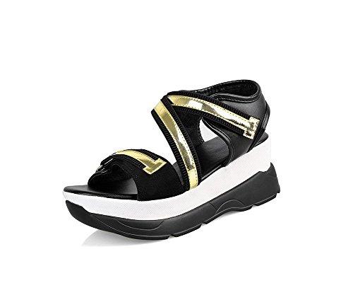 Amoonyfashion Kvinners Pu Kitten-hæler Åpen-tå Assorterte Farger Elastiske  Sandaler Gull