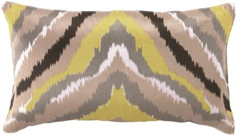 Trina Turk Ikat Yellow Embroidered Decorative Pillow, 20 by 12-Inch, Black Yellow