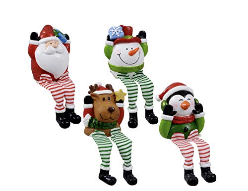 Christmas House Whimsical Dangle-Leg Christmas Characters 6 in, Super Cute Xmas Craft Decorations Collectors 4 Pack.