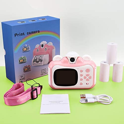 Barchrons Instant Print Digital Kids Camera 1080P Rechargeable Kids Camera for Girls Video Camera with 16G SD Card, Ideal Toy for 3-12 Years Old Girls Boys Party