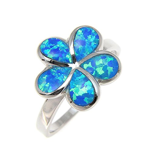 Sterling silver 925 Hawaiian plumeria flower blue synthetic opal ring size 9