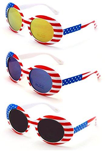 V.W.E. Vintage Sunglasses UV400 Bold Retro Oval Mod Thick Frame Sunglasses Clout Goggles White USA American Flag (All 3 Pairs) -