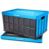 CleverMade 62L Collapsible Storage Bins with Lids Folding Plastic Stackable Utility Crates Solid Wall CleverCrates 2 Pack, Neptune Blue