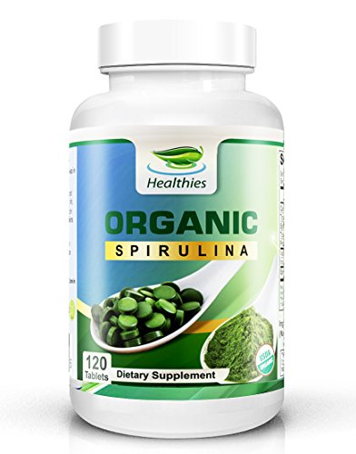 Healthies 100% USDA Organic (NO Additives) Spirulina Tablets 2000mg - The Secret Green Superfood That Youre Missing Out On! (120 Count, 30 Day Supply)