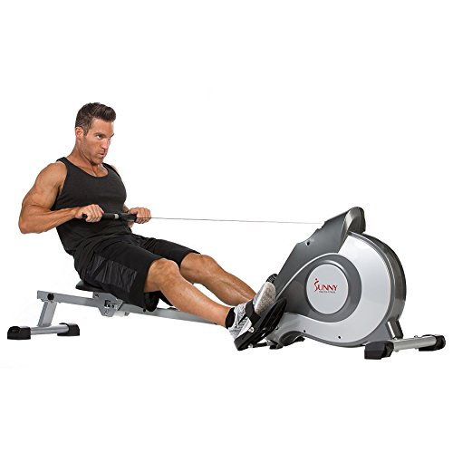 Sunny Health & Fitness Magnetic Rowing Machine with LCD Monitor by SF-RW5515 (30 Minute Cardio Workout At Home No Equipment)