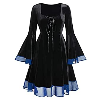 Ausexy Womens Lace Up Patchwork Long Sleeve Mini Dress for Christmas Halloween Cosplay Costumes Blue