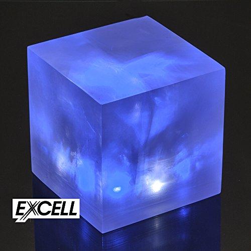 litescape litecube LED-Stimmungslampe blau/weiß aus klarem Kunstharz mit 6LED Lampen im Inneren ideal für ein Nachtlicht oder eine Funktion hinzufügen in einem Raum Höhe 10cm x Breite 10cm Länge 10cm