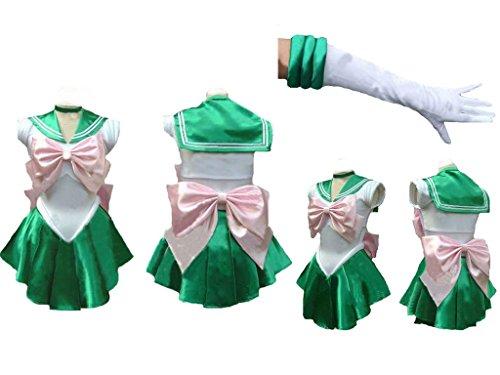 [Sailor Moon Sailormoon short Jupiter lita Cosplay Costume + glove + Tiara] (Sailor Moon Sailor Jupiter Wig Adult)