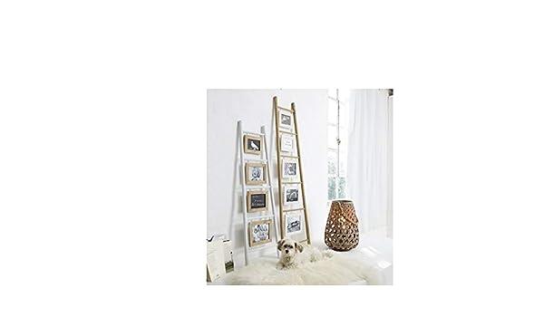 Portaretratos escalera para inclinar sobre la pared, madera, blanco/natural, aprox. 120 cm de altura: Amazon.es: Hogar
