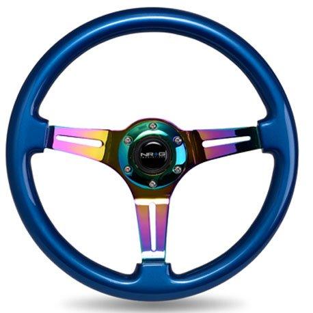 Jdm Steering Wheels (NRG Innovation BLUE wood wheel, 350mm, 3 spoke center in NEO CHROME steering wheel)