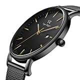 Vigor Rigger Men's Fashion Minimalist Wrist Watch Analog Date with Black Milanese Mesh Band