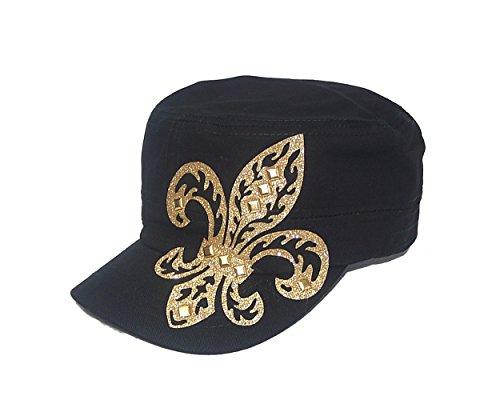 (Gold Fleur De Lis Studded Flattop Black Hat)
