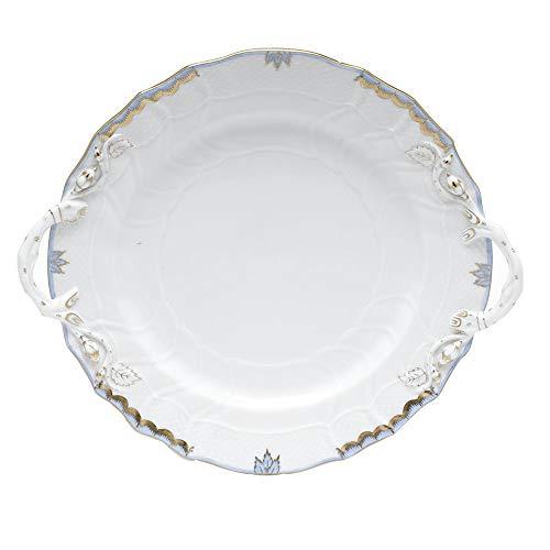 Herend Princess Victoria Light Blue Porcelain Chop Plate with Handles