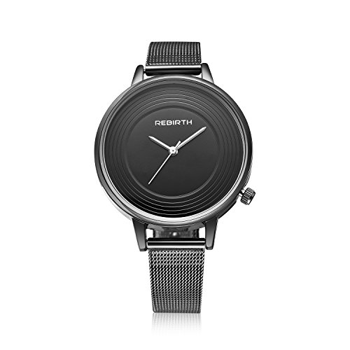 Bosymart Women's Black-Tone Quartz Alloy Dress Watch Mesh Bracelet Watch