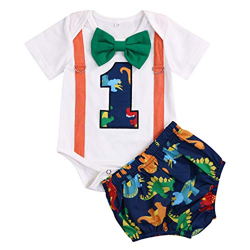 GRNSHTS Baby Birthday Dinosaur Outfits Infant Boy Short Sleeve Gentleman Bodysuit Cake Smash Party Clothes (Dinosaur, 12-18 Months) -