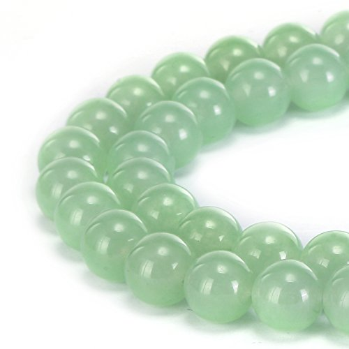 BRCbeads Gorgeous Natural Light Green Jade Gemstone Smooth Round Loose Beads 8mm Approxi 15.5 inch 45pcs 1 Strand per Bag for Jewelry (Green Jade Gems)