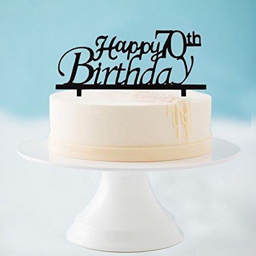 Happy 70th Birthday Cake Topper, Black Acrylic Cake Topper, 70th Birthday Party Decorations by Westlili
