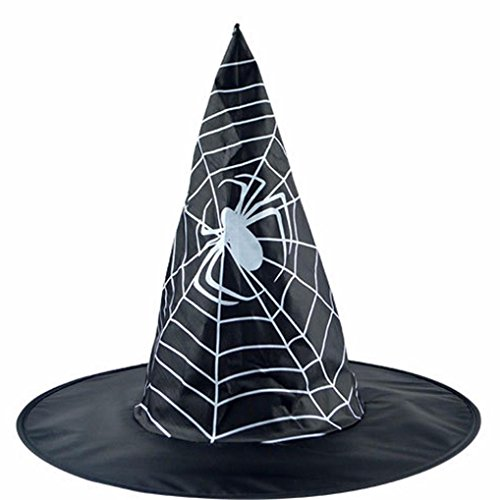 Ankola Halloween Adult Womens Oxford Fabric Black Spider Pointed Witch Hat Costume Accessory Cap (Black) (Spider Womans Hat)