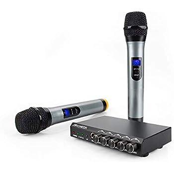 archeer bluetooth wireless microphone system karaoke machine with 1 4 mic jack vhf. Black Bedroom Furniture Sets. Home Design Ideas