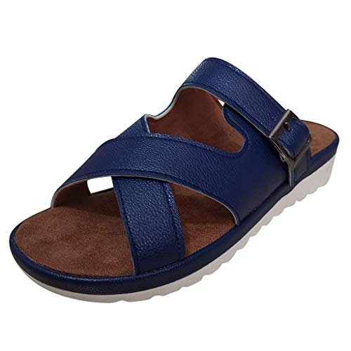 Nadition Low Wedge Slipper Women Comfy Strap Buckle Sandals Summer Travel Anti-Slip Beach Sandals Shoes Blue