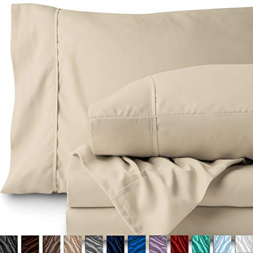 Bare Home King Sheet Set - 1800 Ultra-Soft Microfiber Bed Sheets - Double Brushed Breathable Bedding - Hypoallergenic - Wrinkle Resistant - Deep Pocket (King, Sand) (Sheets King Microfiber)