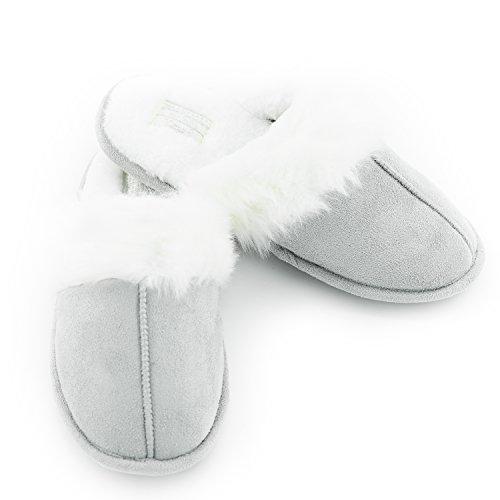 Halluci Hiver Pantoufles Femmes Coton Mignon Intérieur Maison Gris Chaud