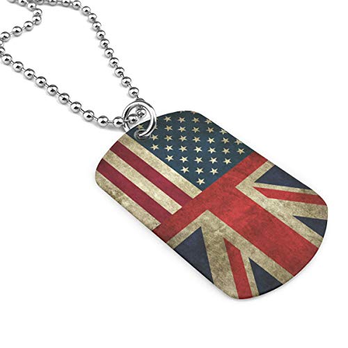 YOIGNG American Flag and British Flag Dog Tag Pendants Necklace Cat