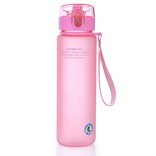 GTI 14oz Sports Water Bottle, BPA-Free Wide Mouth Drink Bottles For Kids With Leak Proof Flip Top Lid Eco-Friendly Plastic Tritan Sports Bottle for Outdoor Running Camping Gym Yoga Pink
