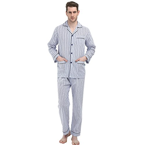 GLOBAL Men's Long Sleeve Cotton Pajamas Broadcloth Top&Pants PJS Button-Down Sleepwear Lounge ()