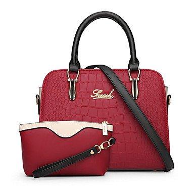 Women Bags All Season PU Bag Set 2 Pieces Purse Set Zipper for Wedding Formal Black Red Beige Purple Sky Blue