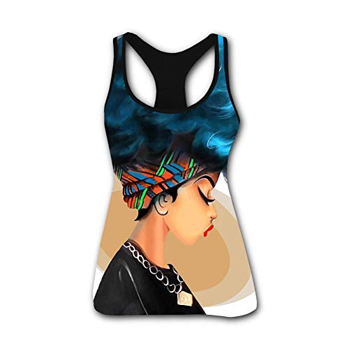 Women's Summer Strong Black Woman Afro Words Art Natural Hair 3D Printed Sleeveless Racerback Tank Tops Vest Shirts M