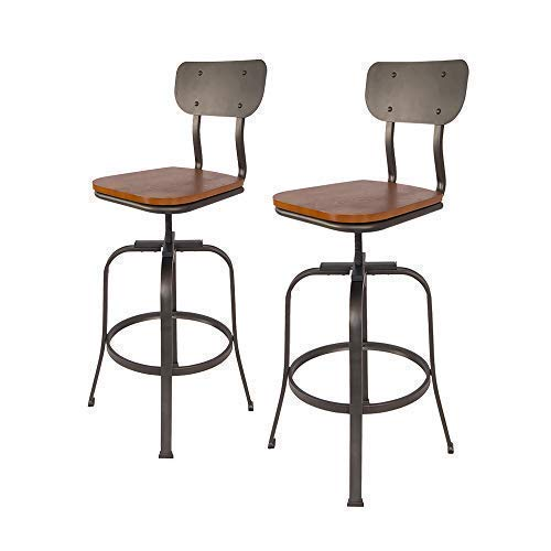 - Industrial Style Adjustable Metal Swivel Height Bar Stools Set of 2 with Backrest by S'DENTE