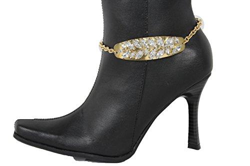 TFJ Women Western Fashion Jewelry Boot Bracelet Gold Metal Chain Shoe Anklet Silver Beads Long Leaf Charm