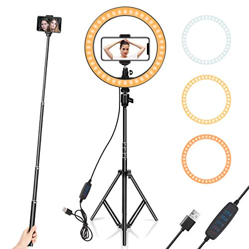 KITRO PLUS 10 inch Camera LED Ring Light with 7.5 Feet Tripod Stand and Double Phone Holders Compatible with All Smartphones for Streaming, Makeup, Selfie Photography