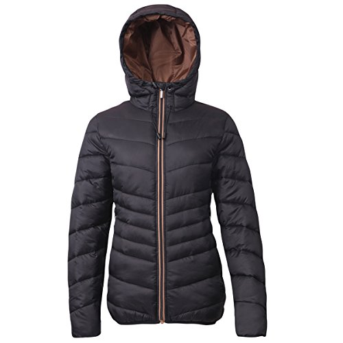 Rokka&Rolla Women's Lightweight Water Resistant Hooded Quilted Poly Padded Puffer Jacket Rich Black