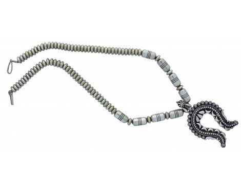 (Thomas Jim, Necklace, Beads, Cutouts, Sterling Silver, Navajo Handmade, 22 in)