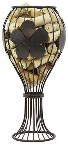 Southern Homewares Wine Glass Shaped Cork Corral Holder, Bronze (Glass Cork Holder)