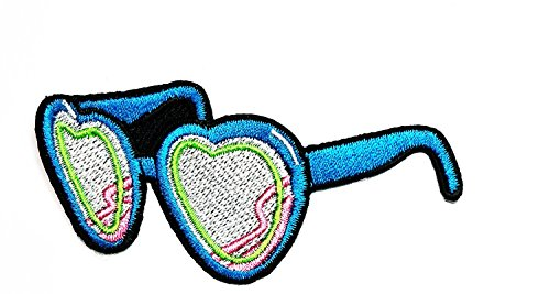 3.2 x 1.4 inches.Blue Heart Sunglasses Shades Specs Iron On Applique Patch Cartoon kid Patch Embroidered DIY Patches,Cute Applique Sew Iron - Sunglasses Dgs