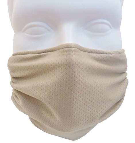 Beige Face (Breathe Healthy Honeycomb Face Mask - 2 Pack Deal! - Cold & Flu Germ Killing Face Mask - Adjustable, Washable - Sanding & Drywall. Allergy Relief (Black & Beige))
