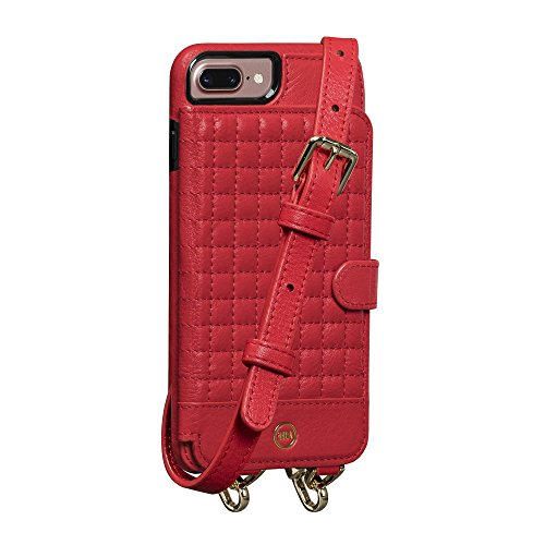 (Sena Crossbody Snap On Leather Cell Phone Case for 6+ 7+ 8+ Plus - Red)