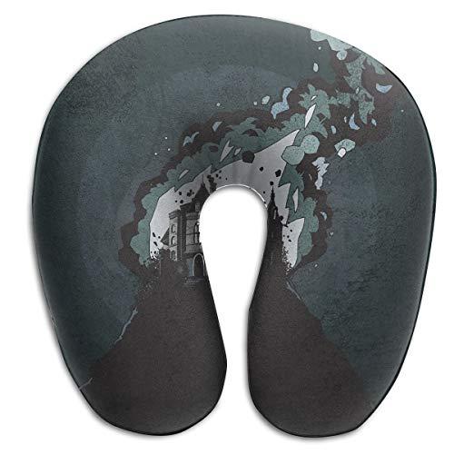 DENETRI DYERHOWARD U-Shaped Neck Memory Foam Pillow Castle Horror Art U Shaped Cushion Support Rest Travel Office Home]()