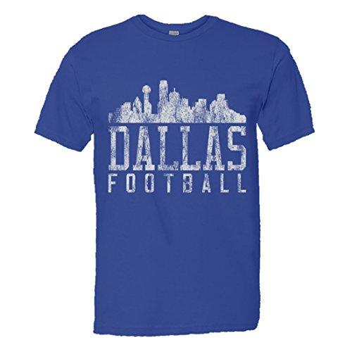 Mens/Unisex Dallas Football Distressed Cowboys Skyline Soft HQ Fashion Tee - Royal - Men Onesie Cowboys